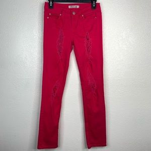 Cielo Jeans Hot Pink Distresses Jeans Size 3